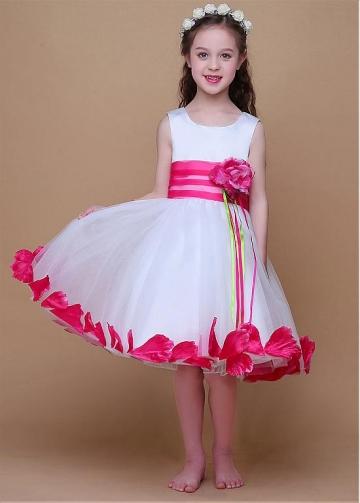 Glamorous Satin & Organza Scoop Neckline Ball Gown Flower Girl Dresses With Handmade Flowers