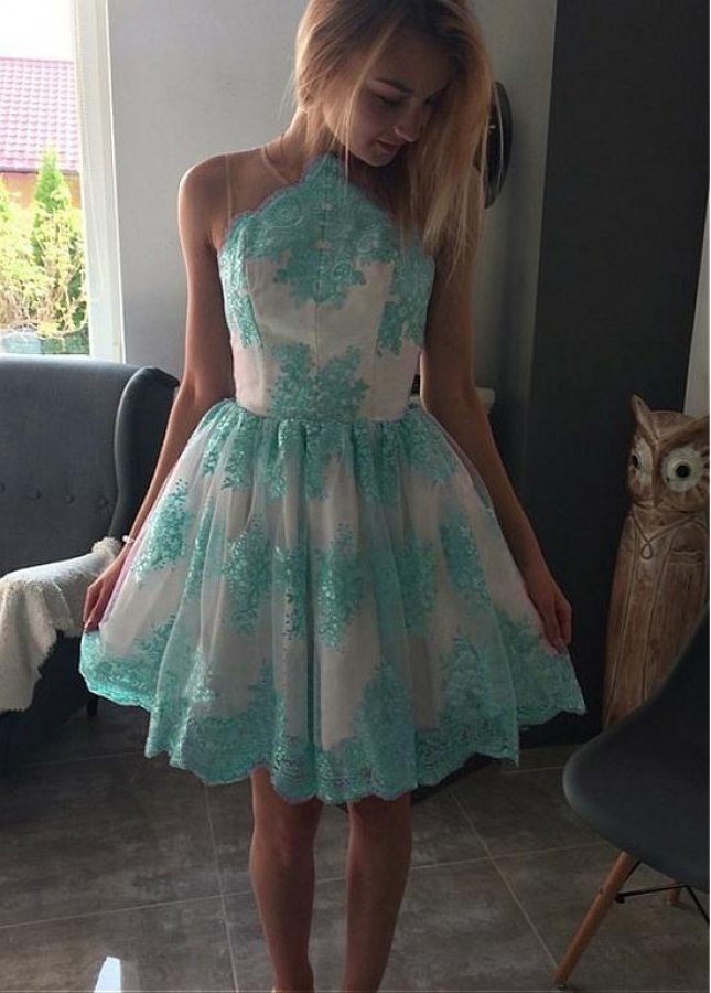 Splendid Tulle Jewel Neckline Short A-line Homecoming Dresses With Lace Appliques