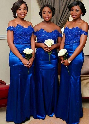 Romantic Satin Off-the-shoulder Neckline Full-length Mermaid Bridesmaid Dresses With Beaded Lace Appliques