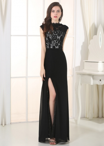 Elegant Lace & Chiffon High Collar Neckline A-Line Military Dresses