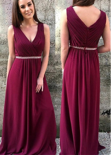 Charming Chiffon V-neck Neckline Full-length A-line Bridesmaid Dress With Beadings