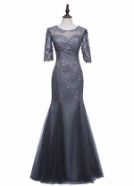 Gorgeous Tulle Jewel Neckline Mermaid Mother Of The Bride Dresses With Beaded Lace Appliques
