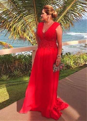 Stunning Chiffon V-neck Neckline Floor-length A-line Mother Of The Bride Dress With Beaded Lace Appliques