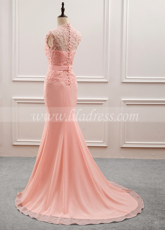 Fantastic Tulle & Chiffon V-neck Neckline Mermaid Mother Of The Bride Dress With Beaded Lace Appliques