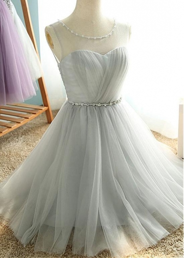 Simple Tulle Scoop Neckline Natural Waistline Knee-length A-line Bridesmaid Dress With Beadings