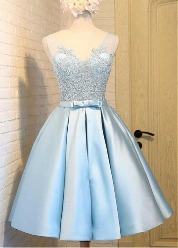 Cute Satin V-neck Neckline SkyBlue A-line Bridesmaid / Sweet 16 Dress