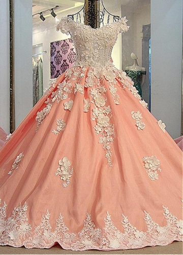 Junoesque Tulle & Satin Off-the-shoulder Neckline Ball Gown Prom Dresses With 3D Flowers