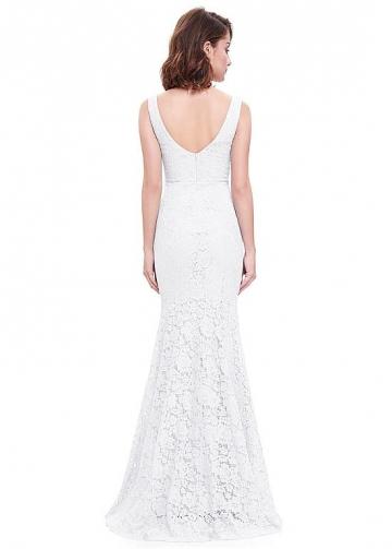 Alluring Lace V-neck Neckline Floor-length Mermaid Prom Dress