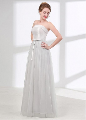 Gorgeous Tulle & Satin Strapless Neckline A-line Bridesmaid Dress With Bowknot