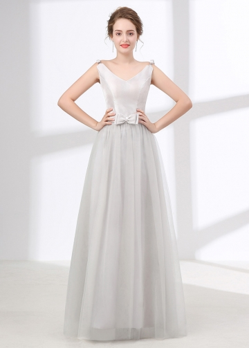 Junoesque Tulle & Satin V-neck Neckline A-line Bridesmaid Dress With Bowknots & Pleats