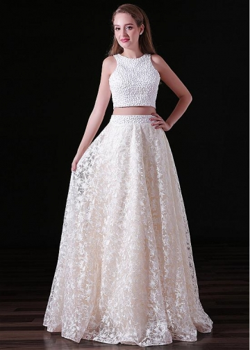 Charming Lace Jewel Neckline Floor-length Two-piece A-line Prom Dresses With Beadings