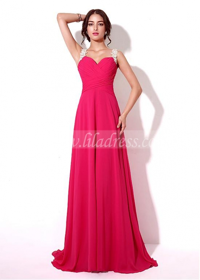 Chic Chiffon Sweetheart Neckline Floor-length A-line Prom Dresses With Lace Appliques