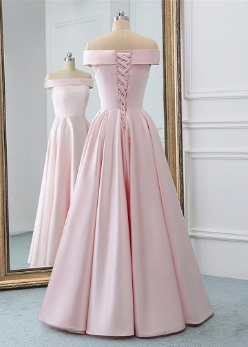 Delicate Satin Off-the-shoulder Neckline Floor-length A-line Prom Dresses