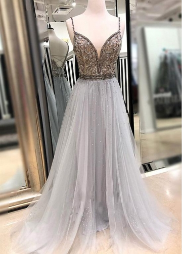 Unique Tulle Spaghetti Straps Neckline Floor-length A-line Prom Dresses With Beadings