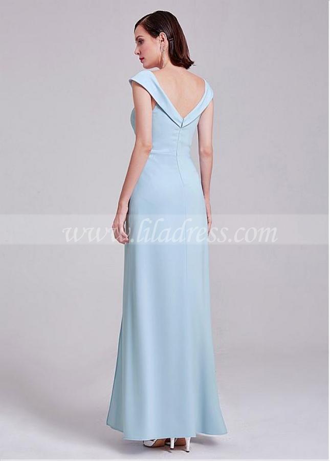 Graceful Skyblue V-neck Neckline Cap Sleeves Floor-length A-line Bridesmaid Dress