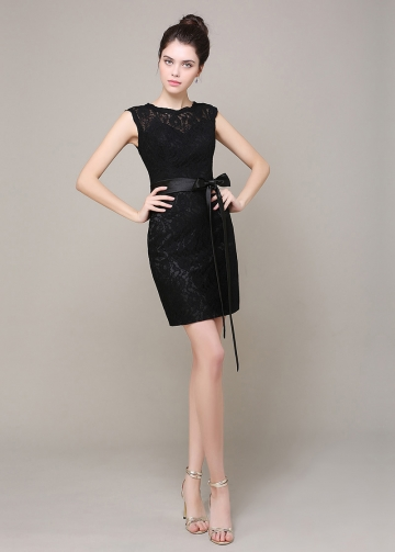 Elegant Lace Sheath Jewel Neckline Short Bridesmaid Dress