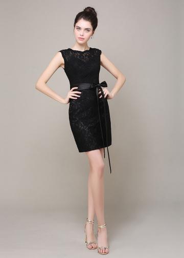 Elegant Lace Sheath Jewel Neckline Short Bridesmaid Dress