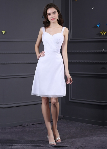 White Chiffon Sweetheart Neckline Knee-length A-line Bridesmaid Dress