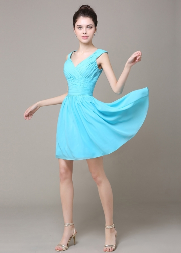 Lovely Chiffon V-neck Neckline Short A-line Bridesmaid Dress