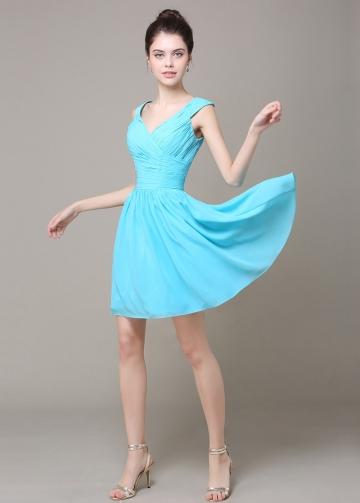 Lovely Chiffon V-neck Neckline Short A-line Bridesmaid Dress