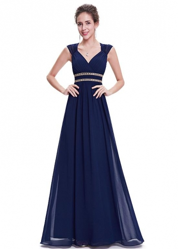 Stunning Chiffon V-neck Neckline Cap Sleeves Cut-out A-line Prom Dresses With Beadings