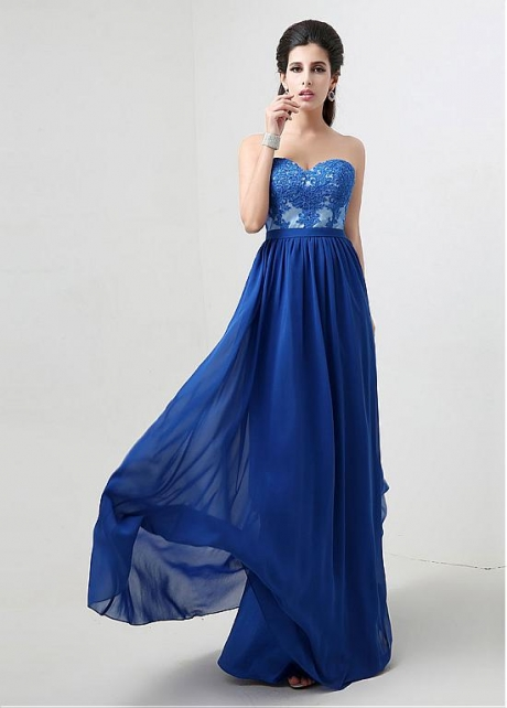 Marvelous Chiffon Sweetheart Neckline Prom / Bridesmaid Dresses With Lace Appliques