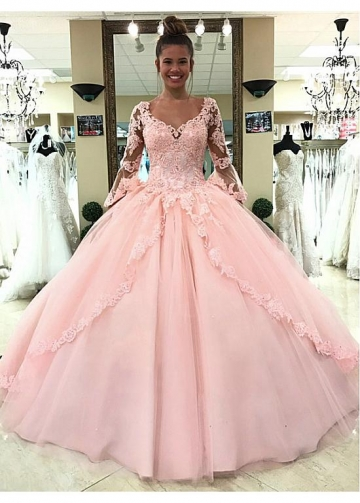 Charming Tulle V-neck Neckline Floor-length Ball Gown Quinceanera Dresses With Beadings & Lace Appliques