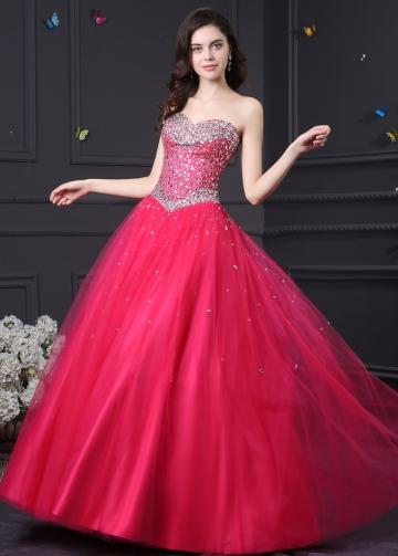 Lovely Tulle & Satin Sweetheart Neckline Ball Gown Quinceanera Dresses