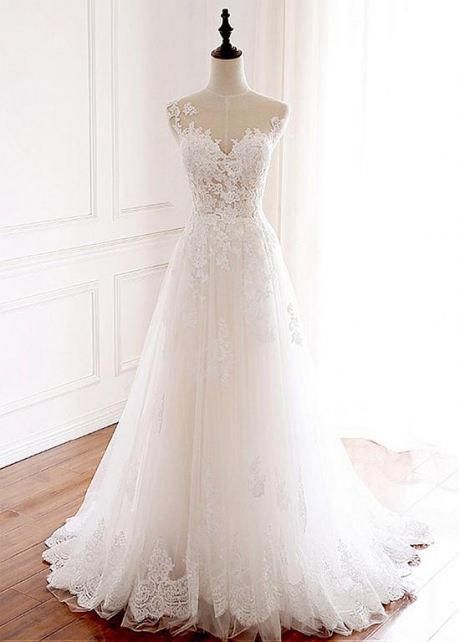 Elegant Tulle Jewel Neckline Full-length A-line Wedding With Lace Appliques