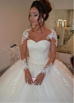 Glamorous Tulle Bateau Neckline Ball Gown Wedding Dress With Lace Appliques & Beadings
