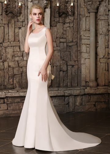 Marvelous Satin Scoop Neckline Mermaid Wedding Dresses with Detachable Bowknot