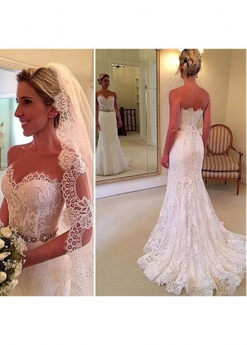Attractive Lace Sweetheart Neckline Natural Waistline Mermaid Wedding Dress With Lace Appliques & Belt