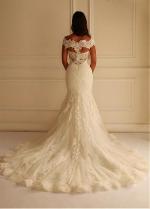 Stunning Lace Off-the-shoulder Neckline Mermaid Wedding Dress