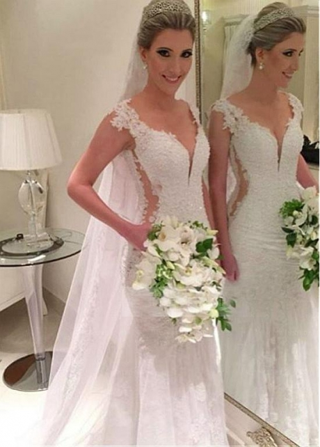 Glamorous Tulle & Satin V-Neck Mermaid Wedding Dresses With Beaded Lace Appliques