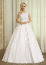 Glamorous Taffeta Scoop Neckline Ball Gown Wedding Dresses With Lace Appliques