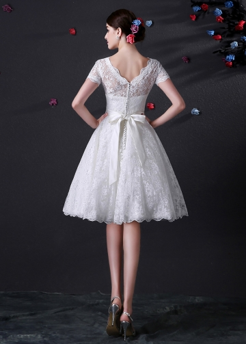 Knee Length Full Lace Wedding Dress With Short Sleeves