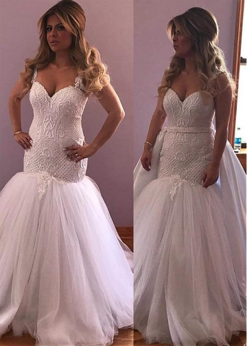 Brilliant Tulle Jewel Neckline 2 In 1 Wedding Dresses With Beaded Lace Appliques & Belt & Detachable Train