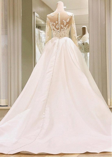 Lavish Tulle & Satin Jewel Neckline Ball Gown Wedding Dresses With Lace Appliques & Beadings