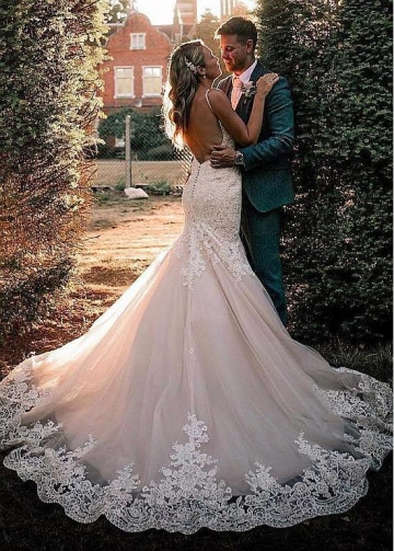 Modest Tulle Spaghetti Straps Neckline Mermaid Wedding Dresses With Beaded Lace Appliques