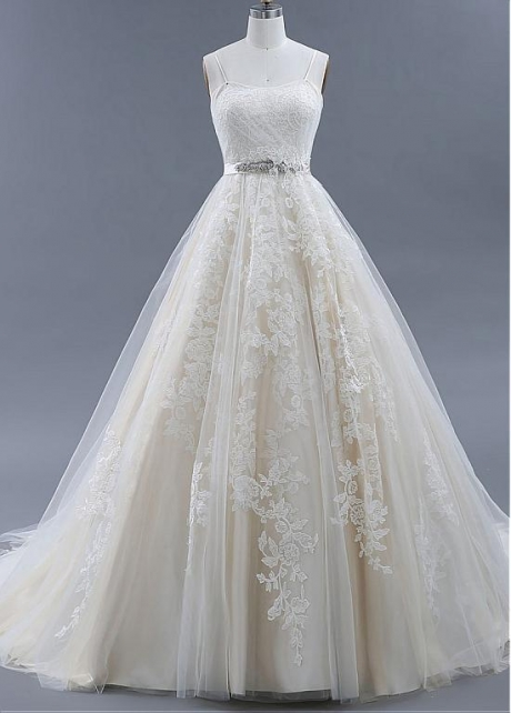 Graceful Tulle Spaghetti Straps Neckline A-line Wedding Dresses With Lace Appliques & Belt