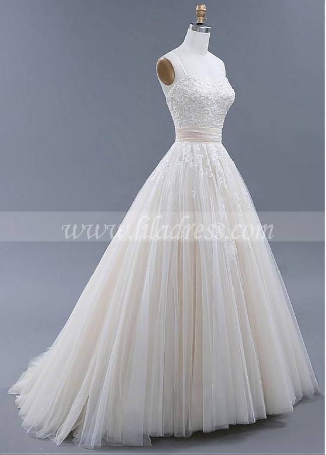 Fabulous Tulle Spaghetti Straps Neckline Backless A-line Wedding Dresses With Beaded Lace Appliques