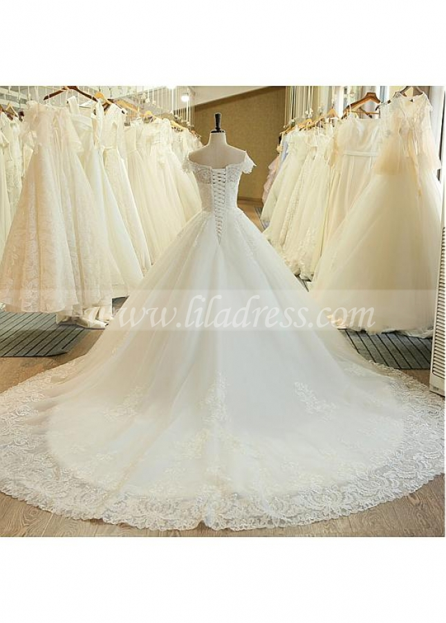 Gorgeous Tulle Off-the-shoulder Neckline A-line Wedding Dress With Lace Appliques & Beadings