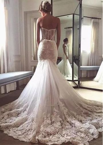 Fantastic Tulle & Lace Sweetheart Neckline Mermaid Wedding Dress With Lace Appliques & Belt