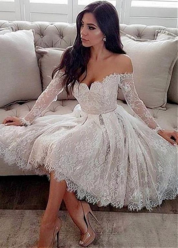 Pretty Lace Off-the-shoulder Neckline Knee-length A-line Wedding Dress With Belt