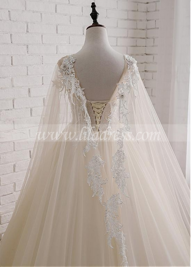 Eye-catching Tulle Jewel Neckline Ball Gown Wedding Dress With Lace Appliques & Beadings