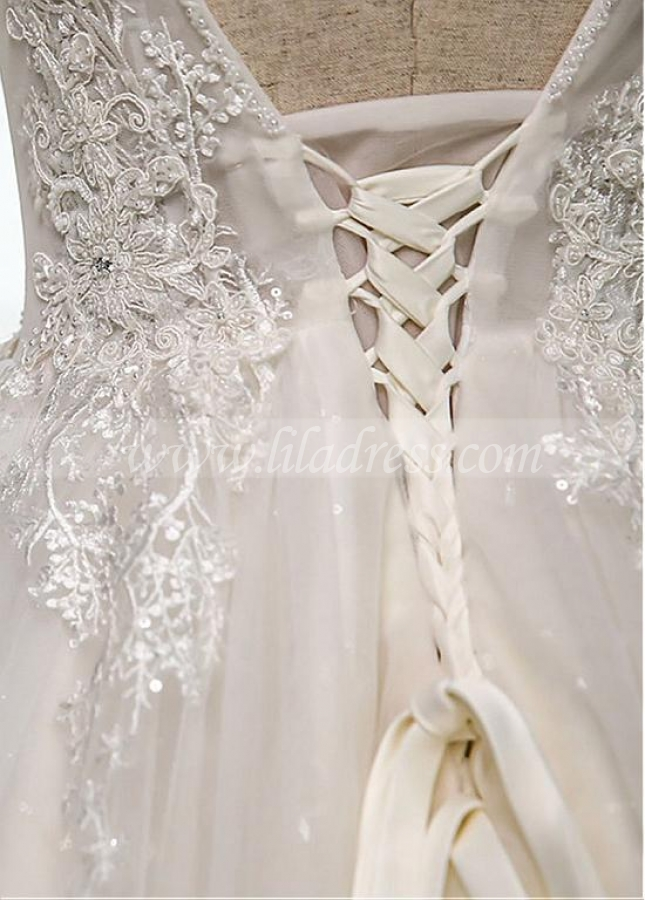 Romantic Tulle V-neck Neckline Natural Waistline A-line Wedding Dress With Lace Appliques & Beadings