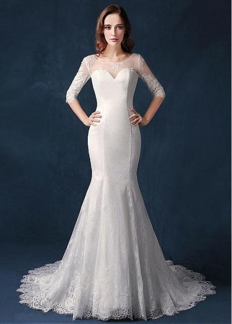 Wonderful Lace Scoop Neckline Natural Waistline Mermaid Wedding Dress