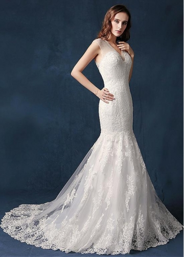 Junoesque Tulle V-neck Neckline Mermaid Wedding Dress With Lace Appliques & Beadings
