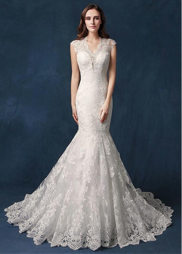 Gorgeous Tulle V-neck Neckline Cut-out Back Mermaid Wedding Dress With Beadings & Lace Appliques