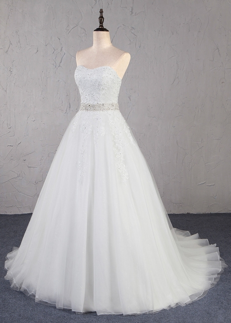 Marvelous Tulle Strapless Neckline A-Line Wedding Dress With Lace Appliques & Beadings